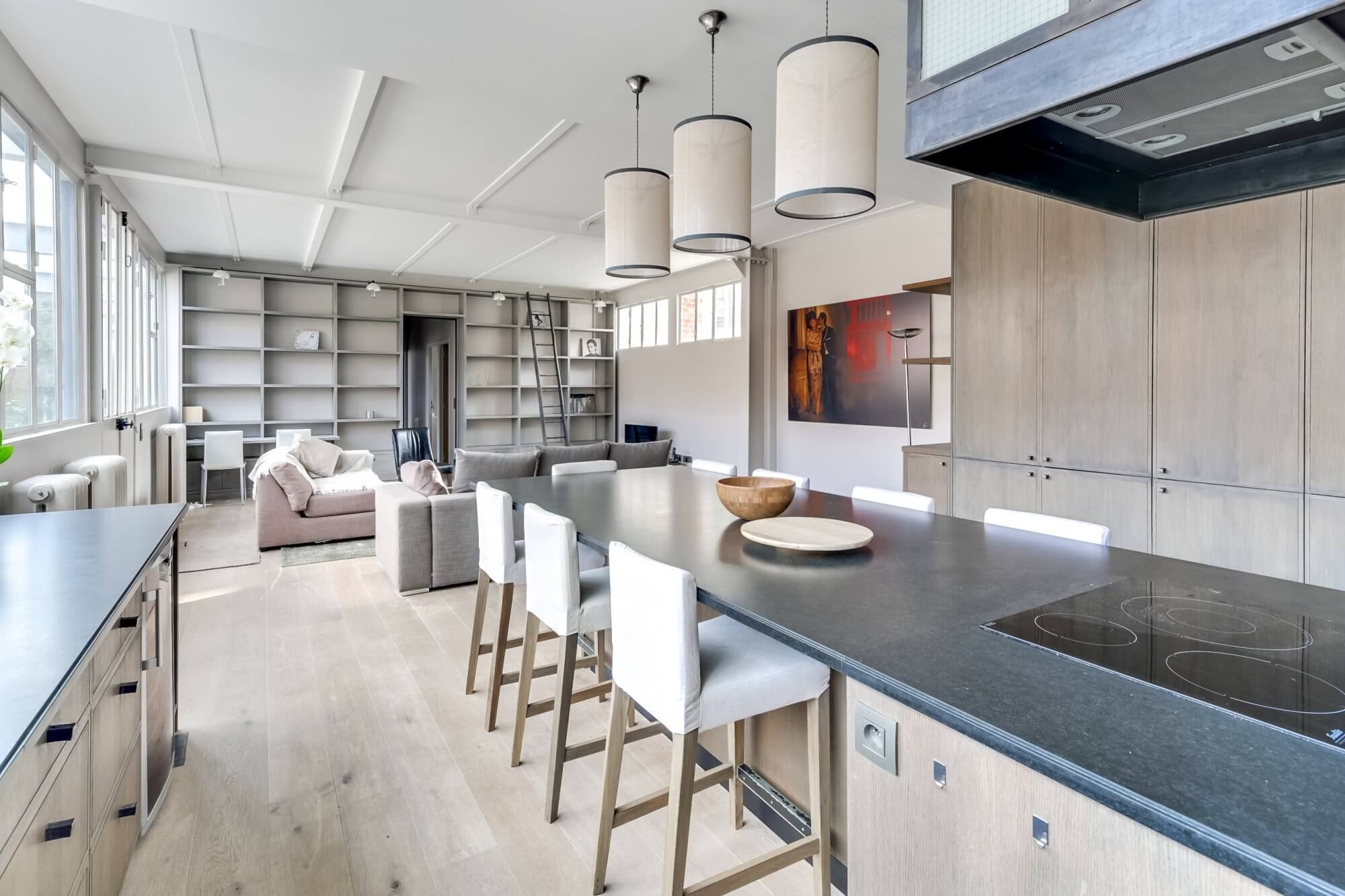 Canal Saint Martin Penthouse - Kitchen and Dining View